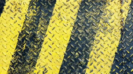 Black and yellow line paint on non-slip metal textured background Banque d'images - 137870881