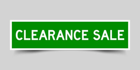 Label square green sticker in word claerance sale on gray background (vector) Ilustrace