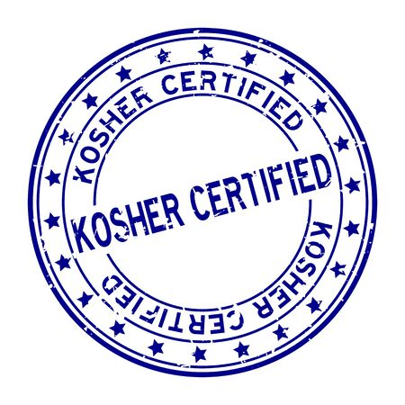 Grunge blue kosher certified word square rubber seal stamp on white background Çizim
