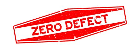 Grunge red zero defect word hexagon rubber seal stamp on white background 矢量图像