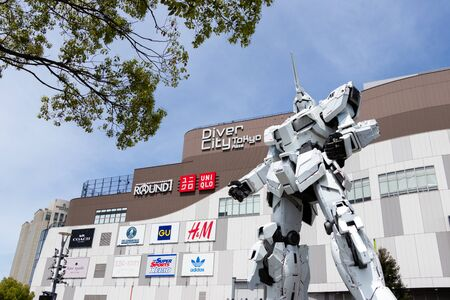 TOKYO, JAPAN - April 28, 2019, RX-0 Unicorn Gundam statue in normal mode located at Diver City Tokyo Plaza Tokyo, Odaiba