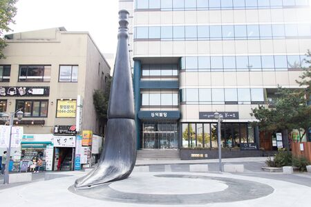 Seoul, South Korea- Oct 20, 2019 : the sculpture of calligraphy brush located in front of Insadong street