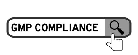 Search box with word GMP (Abbreviation good manufacturing practice) compliance and hand icon over magnifier on white background