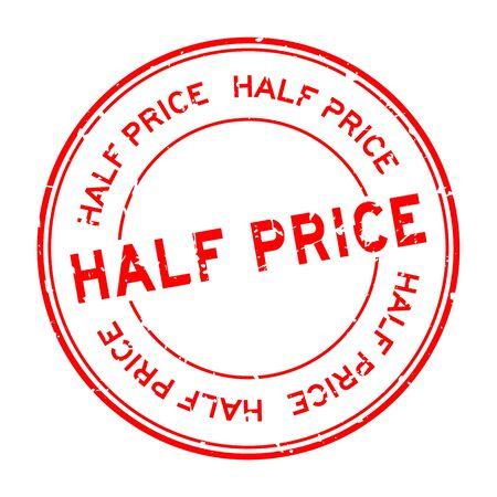 Grunge red half price word round rubber seal stamp on white background