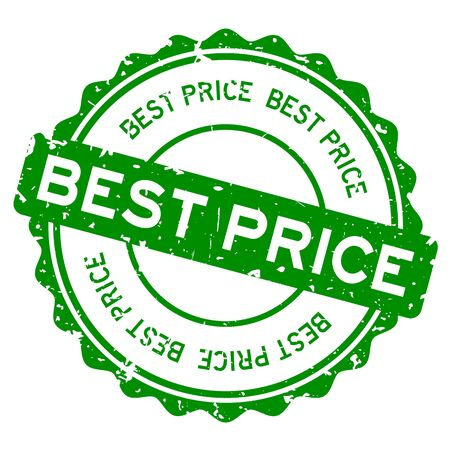 Grunge green best price word round rubber seal stamp on white background