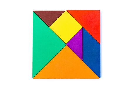 Color wood tangram puzzle in square shape on white background