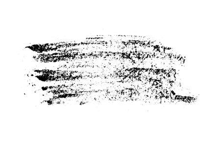 Set of grunge black chalk texture stripe brush on white background