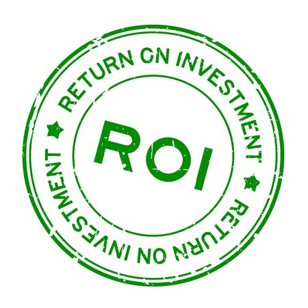 Grunge green ROI (Abbreviation of Return on Investment) word round rubber seal stamp on white background