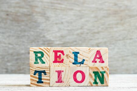 Letter block in word relation on wood background