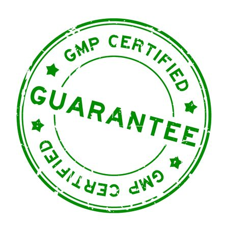 Grunge green GMP (Good manufacturing practice) certified guarantee word round rubber seal stamp on white background