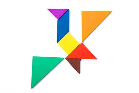 Color wood tangram puzzle in flying bird shape on white background