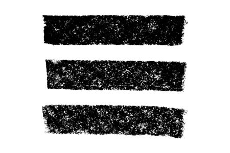 Set of grunge black chalk texture stripe brush on white background Ilustrace