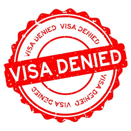 Grunge red visa denied word round rubber seal stamp on white background Ilustración de vector