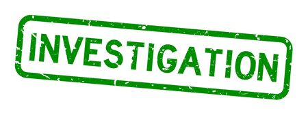 Grunge green investigation word rubber seal stamp on white background