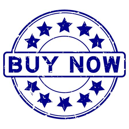 Grunge blue now word round rubber seal stamp on white background Ilustração