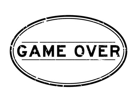 Grunge black game over word oval rubber seal stamp on white backgoround
