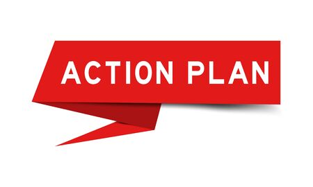 Red color paper speech banner with word action plan on white background