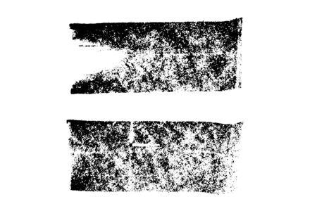 Set of grunge black chalk texture stripe brush on white background Vecteurs
