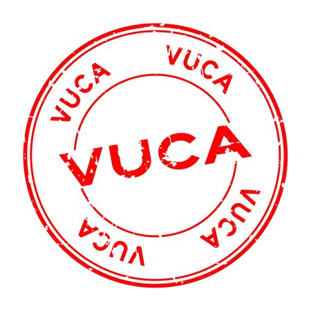 Grunge red vuca (abbreviation of Volatility, uncertainty, complexity and ambiguity) word round rubber seal stamp on white background