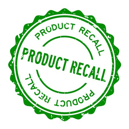 Grunge green product recall word round rubber seal stamp on white background