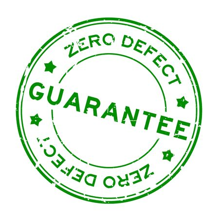 Grunge green zero defect guarantee word round rubber seal stamp on white background 矢量图像