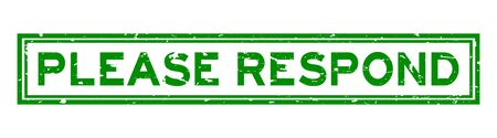 Grunge green please respond word square rubber seal stamp on white background