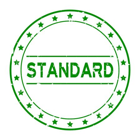 Grunge green standard word with star icon round rubber seal stamp on white background