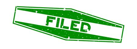Grunge green filed word hexagon rubber seal stamp on white background