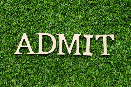 Wood alphabet letter in word admit on green grass background