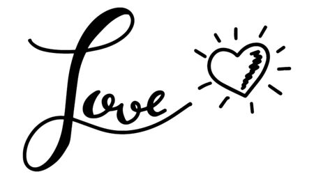 Black hand drawing in word love with heart symbol on white background 일러스트