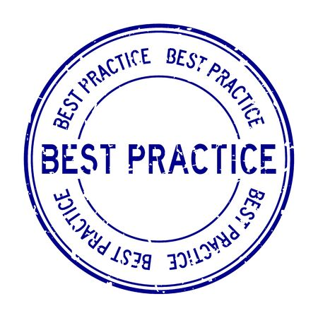 Grunge blue best practice word round rubber seal business stamp on white background