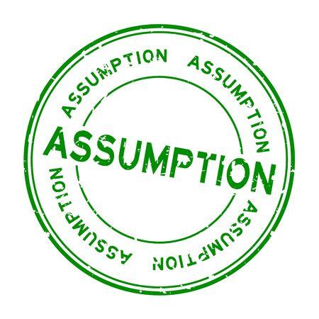 Grunge green assumption word round rubber seal stamp on white background
