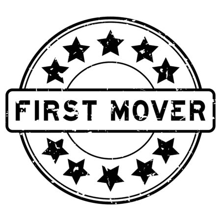 Grunge black first mover word with star icon round rubber seal stamp on white background