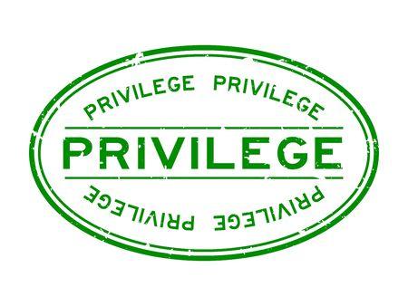 Grunge green privilege word oval rubber seal stamp on white background Illusztráció