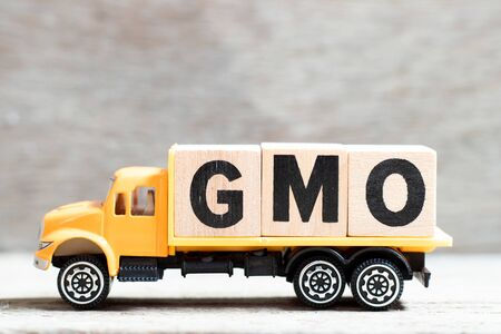 Truck hold letter block in word GMO (abbreviation of Genetically Modified Organisms) on wood background