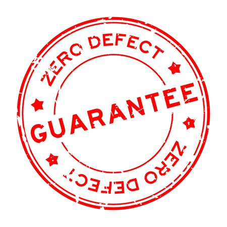 Grunge red zero defect guarantee word round rubber seal stamp on white background