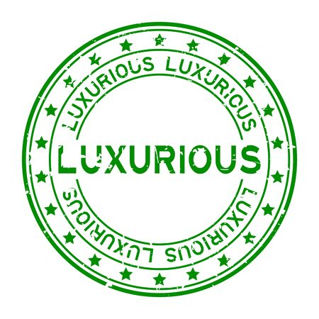 Grunge green luxurious word squre rubber seal stamp on white background