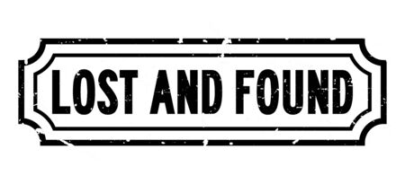 Grunge black lost and found word rubber business seal stamp on white background