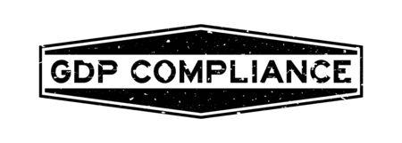 Grunge black GDP (Abbreviation good distribution practice) Compliance word hexagon rubber seal stamp on white background Ilustração