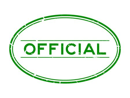 Grunge green official word oval rubber seal stamp on white background Illustration