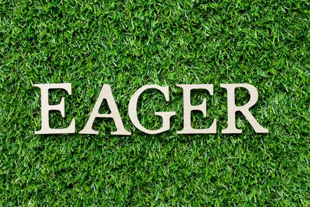 Wood alphabet letter in word eager on green grass background