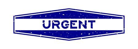 Grunge blue urgent word hexagon rubber seal stamp on white background Illusztráció