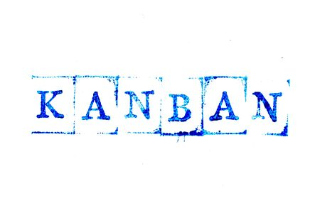 Blue ink of rubber stamp in word kanban on white paper background Stock Photo