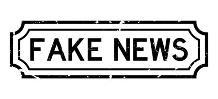 Grunge black fake news word rubber business seal stamp on white background