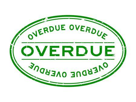 Grunge green overdue word oval rubber seal stamp on white background Ilustração