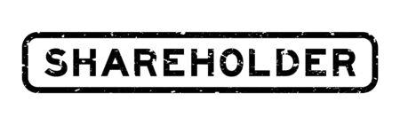 Grunge black shareholder word square rubber seal stamp on white background
