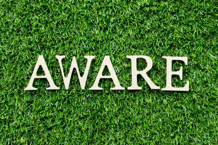 Wood alphabet letter in word aware on green grass background Zdjęcie Seryjne