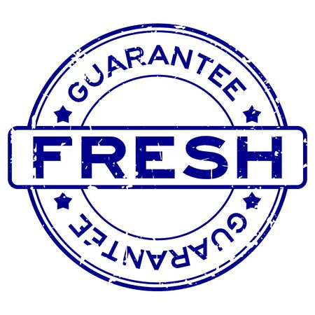 Grunge blue fresh guarantee word round rubber seal stamp on white background