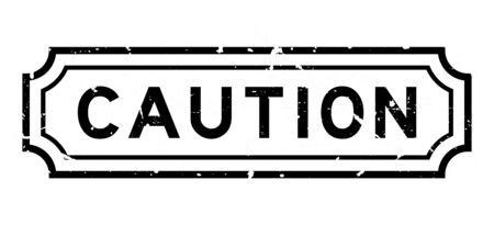 Grunge black caution word rubber seal stamp on white background