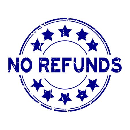 Grunge blue no refunds word with star icon rubber seal stamp on white background